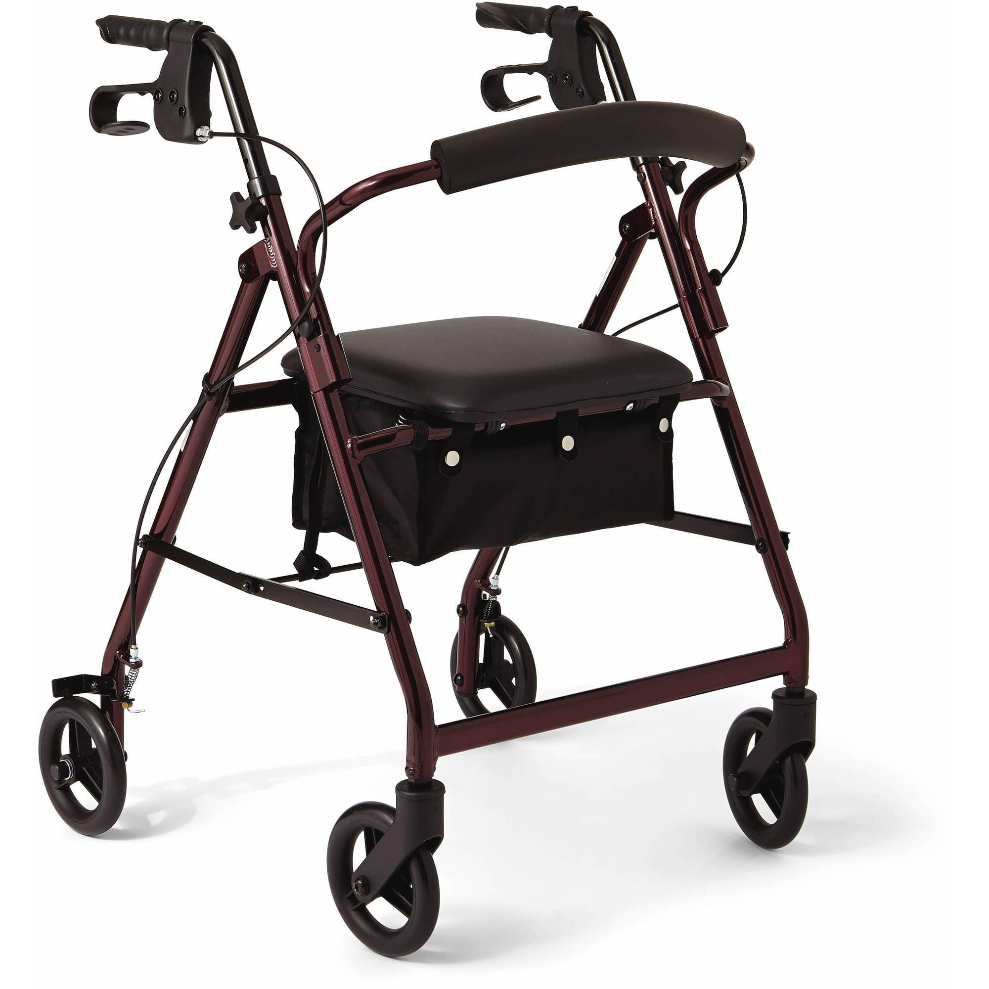 """Medline Aluminum Foldable Rollator Walker with 6"""" Wheels, Burgundy"""