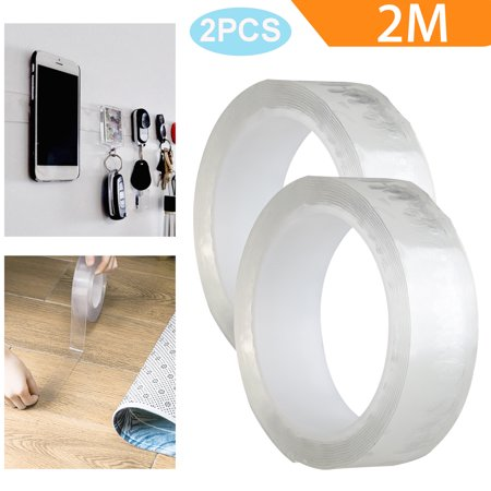 Washable Adhesive Tape, TSV 3M/2M/1M Traceless Reusable Clear Double Sided Anti-Slip Nano Gel Pads, Removable Sticky Transparent Strips Grip for Glass, Metal, Kitchen Cabinets and Tile Nano Tape Accent Strip Tile Flooring