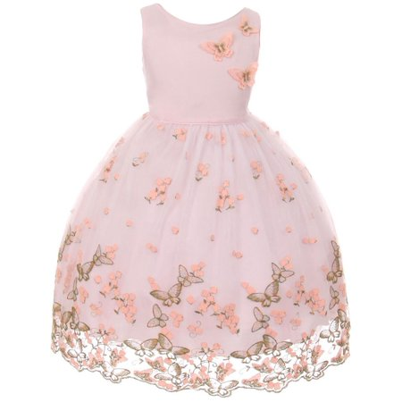 Kids Dream Girls Pink Metallic Butterfly Flower Easter Dress 8-12 for $<!---->