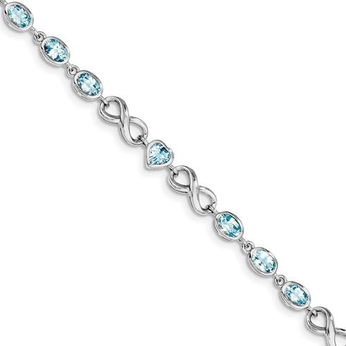 Sterling Silver Oval Heart Blue Topaz Bracelet Gem Wt- 5.93ct by Jewelrypot