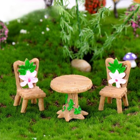 Heepo Mini Lovely Table Chairs Set Resin Crafts Miniature Landscape Ornaments Decor