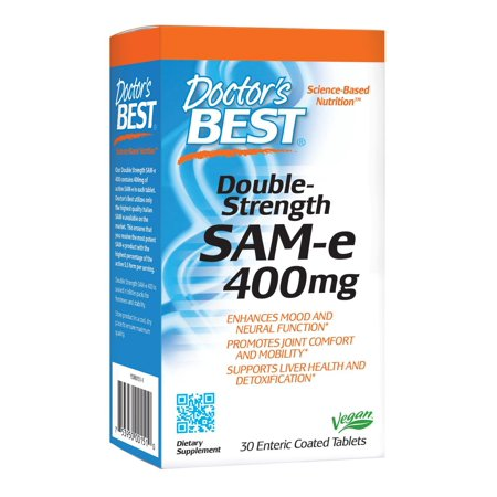 Doctor's Best SAM-e 400 mg, Vegan, Gluten Free, Soy Free, Mood and Joint Support, 30 Enteric Coated Tablets 30