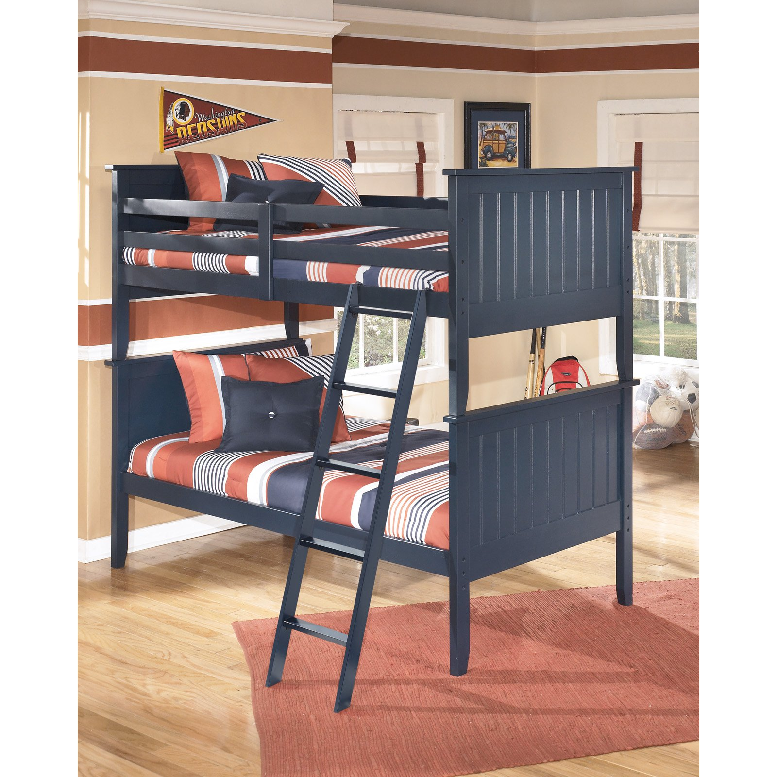 Signature Design by Ashley Leo Twin over Twin Bunk Bed - Blue