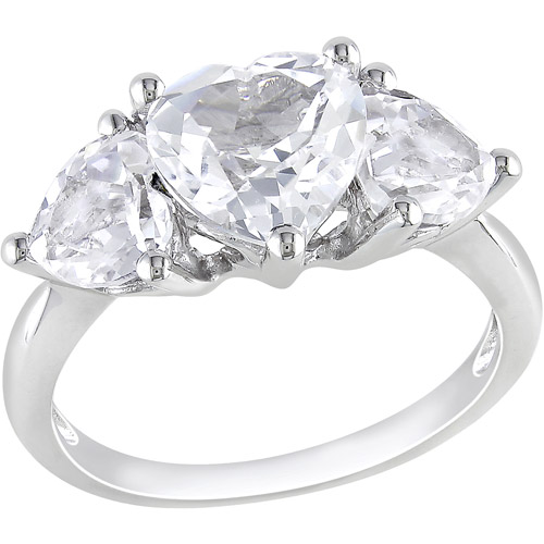 Miabella 4-1/10 Carat T.G.W. Heart-Shaped White Sapphire Fashion Ring in Sterling Silver