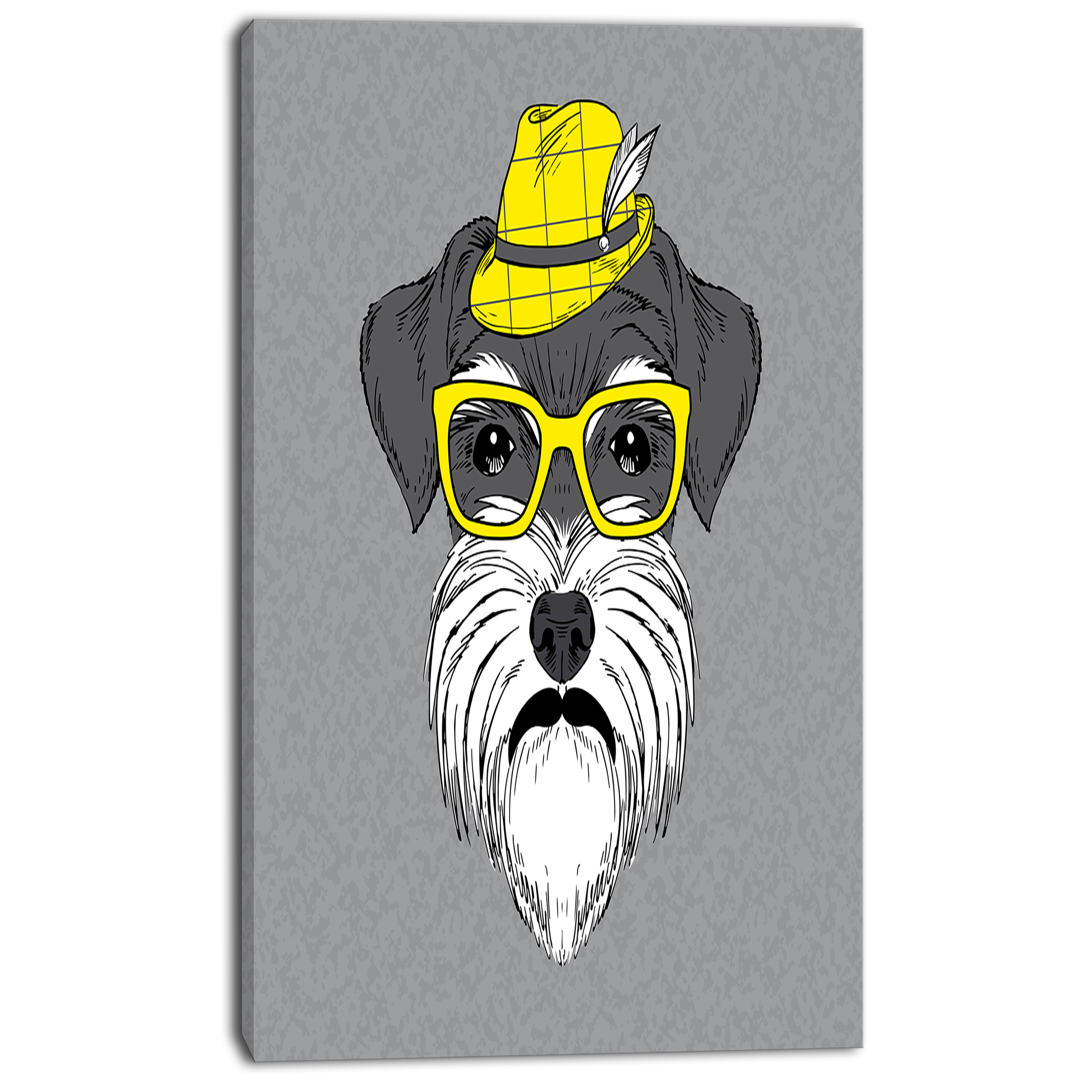 Schnauzer with Hat and Glasses - Contemporary Animal Art Canvas - image 1 of 3