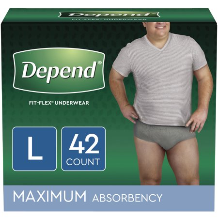 Depend FIT-FLEX Incontinence Underwear for Men, Maximum Absorbency, L, Grey, 42 Count ()