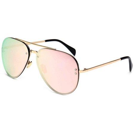 da79cf1cfb7 OWL - OWL Eyewear Sunglasses 86021 C4 Women s Metal Fashion Gold Frame Pink  Mirror Lens - Walmart.com