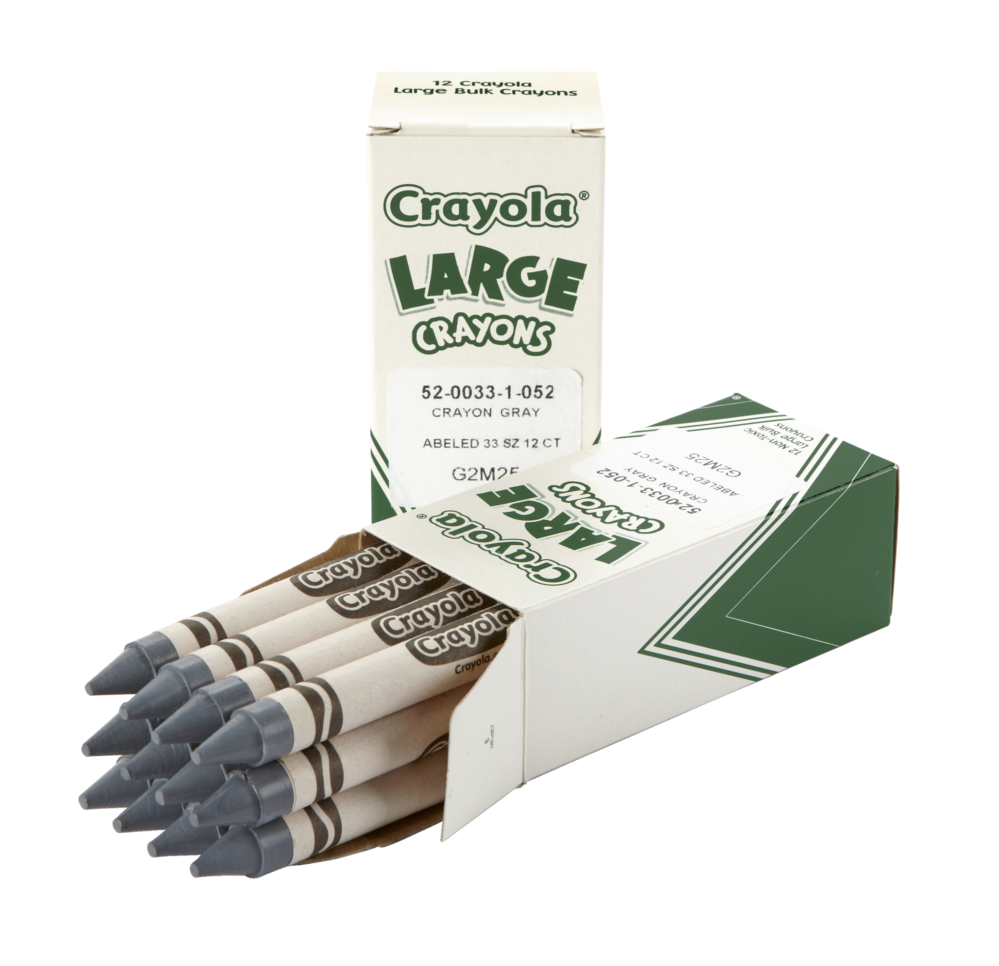 Crayola Large Non-Toxic Single Colors Crayon Refill, Gray, 2