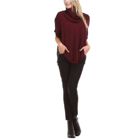 Sisters Womens Cowl Neck Poncho Sweater Top (Wine, Large) ()