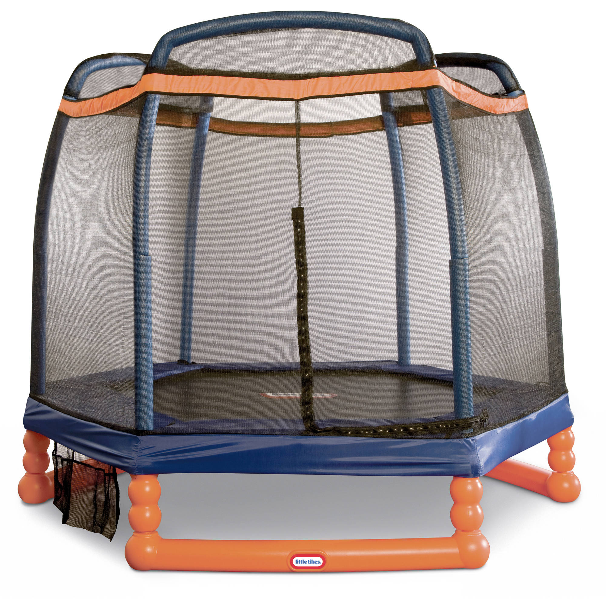 Little Tikes 7-Foot Trampoline, with Enclosure and Padded Frame, Blue/Orange