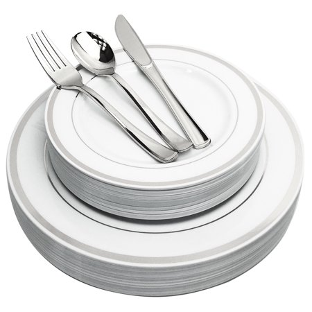 JL Prime 125 Piece Silver Plastic Plates & Cutlery Set, Heavy Duty Disposable Plastic Plates with Silver Rim & Silverware for Party & Wedding, Dinner & Salad Plates Forks Knives Spoons 25 Each - Cheap Wedding Plates And Silverware