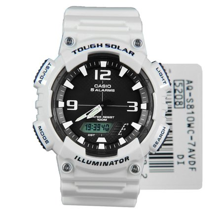 Men's Solar Sport Combination Watch, White Glossy Resin Strap