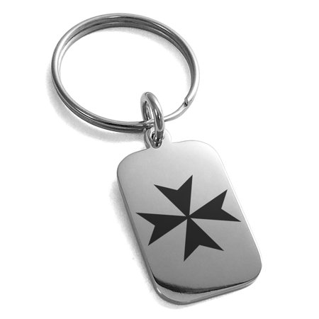 Stainless Steel Maltese Cross Engraved Small Rectangle Dog Tag Charm Keychain (Engraved Maltese)