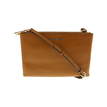 bac0dc0ae3b2 Michael Kors Women s Jet Set Travel Double Gusset Crossbody Leather Cross  Body Bag - Vanilla   Acorn - Walmart.com