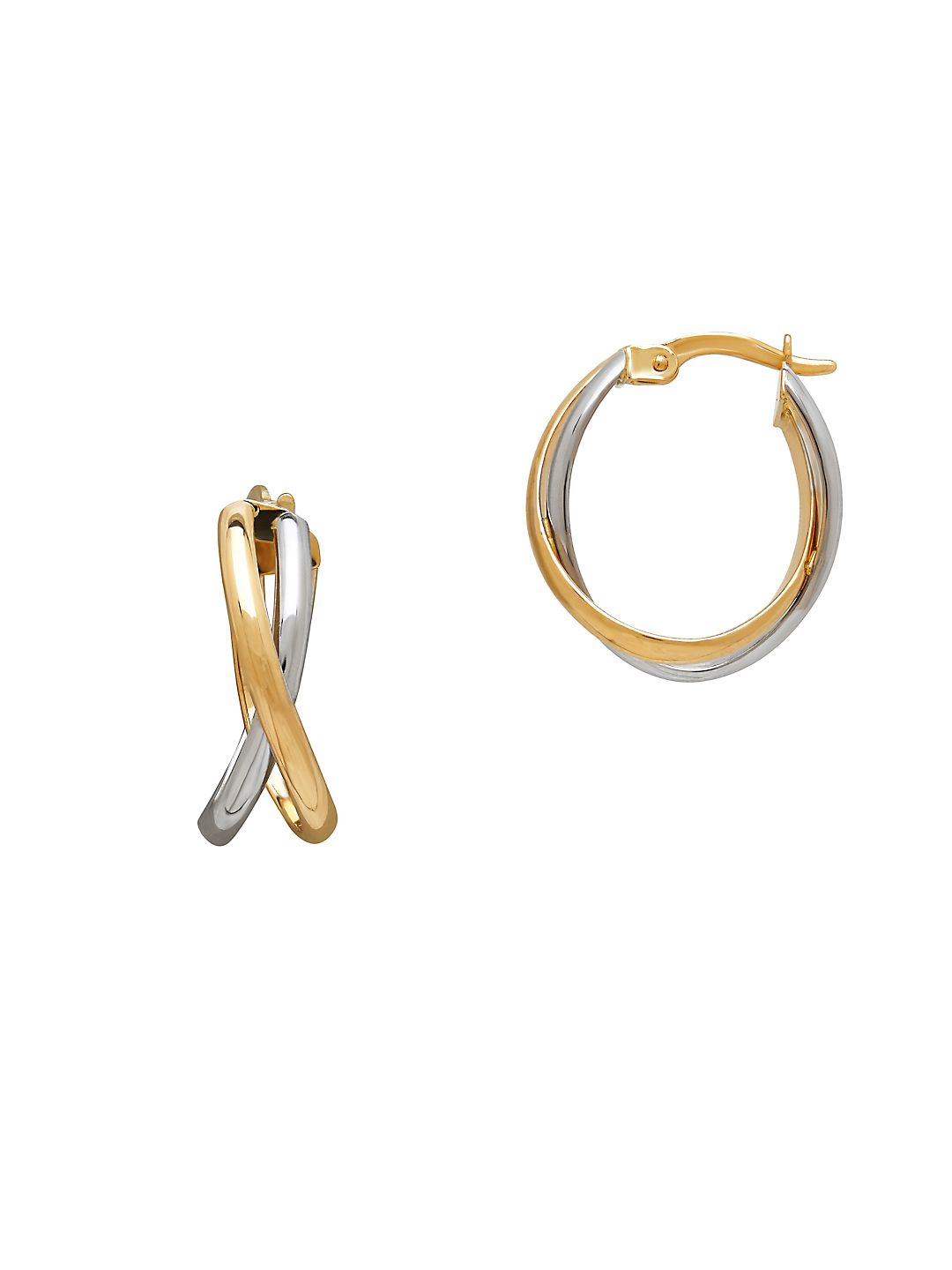 Two Tone 14K Yellow and White Gold Hoop Earrings