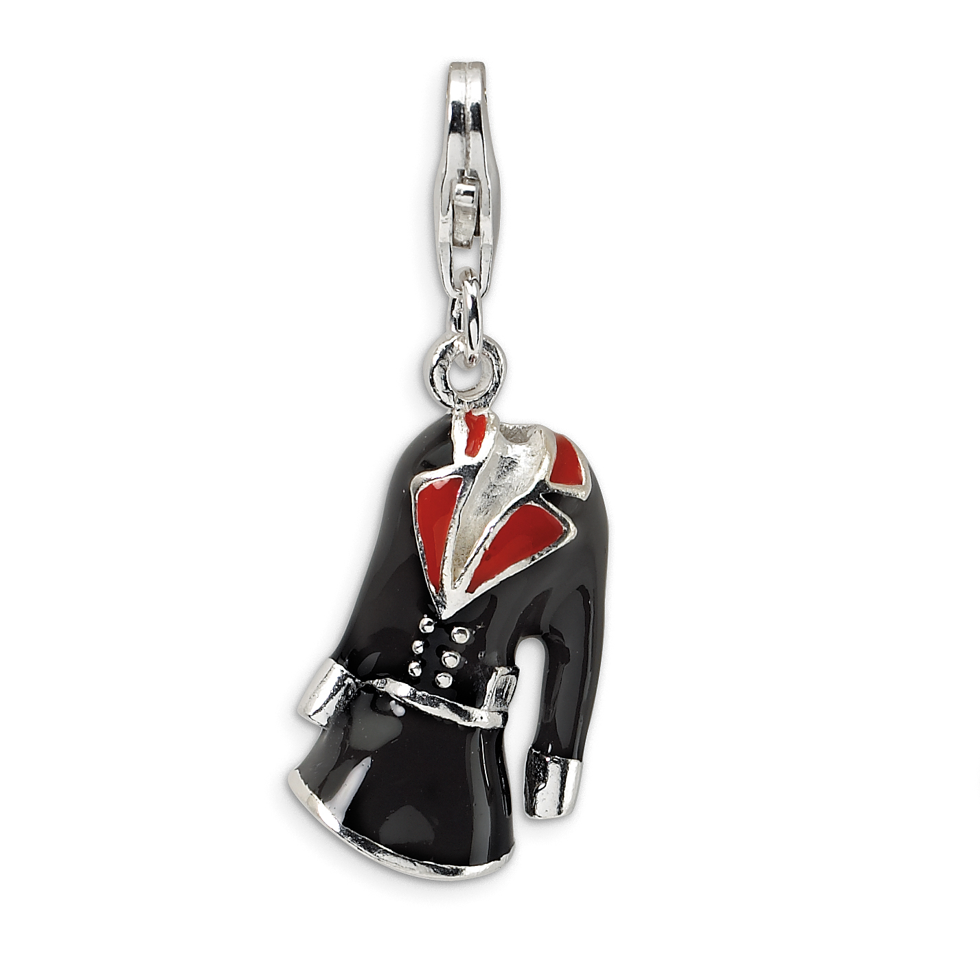 Roy Rose Jewelry Sterling Silver Amore la Vita 3-D Black & Red Enameled Coat w/Lobster Clasp Charm