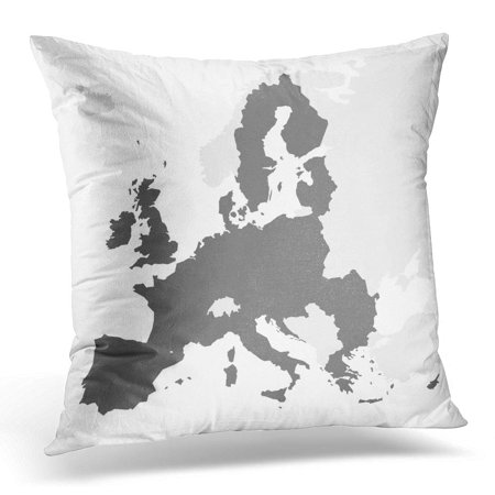 BOSDECO Gray Europe European Union Territory Grey Silhouette Map of EU White Area Pillowcase Pillow Cover Cushion Case 18x18 inch - image 1 de 1