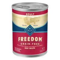 Blue Buffalo Freedom Grain Free Natural Adult Wet Dog Food, Beef, 12.5-oz cans