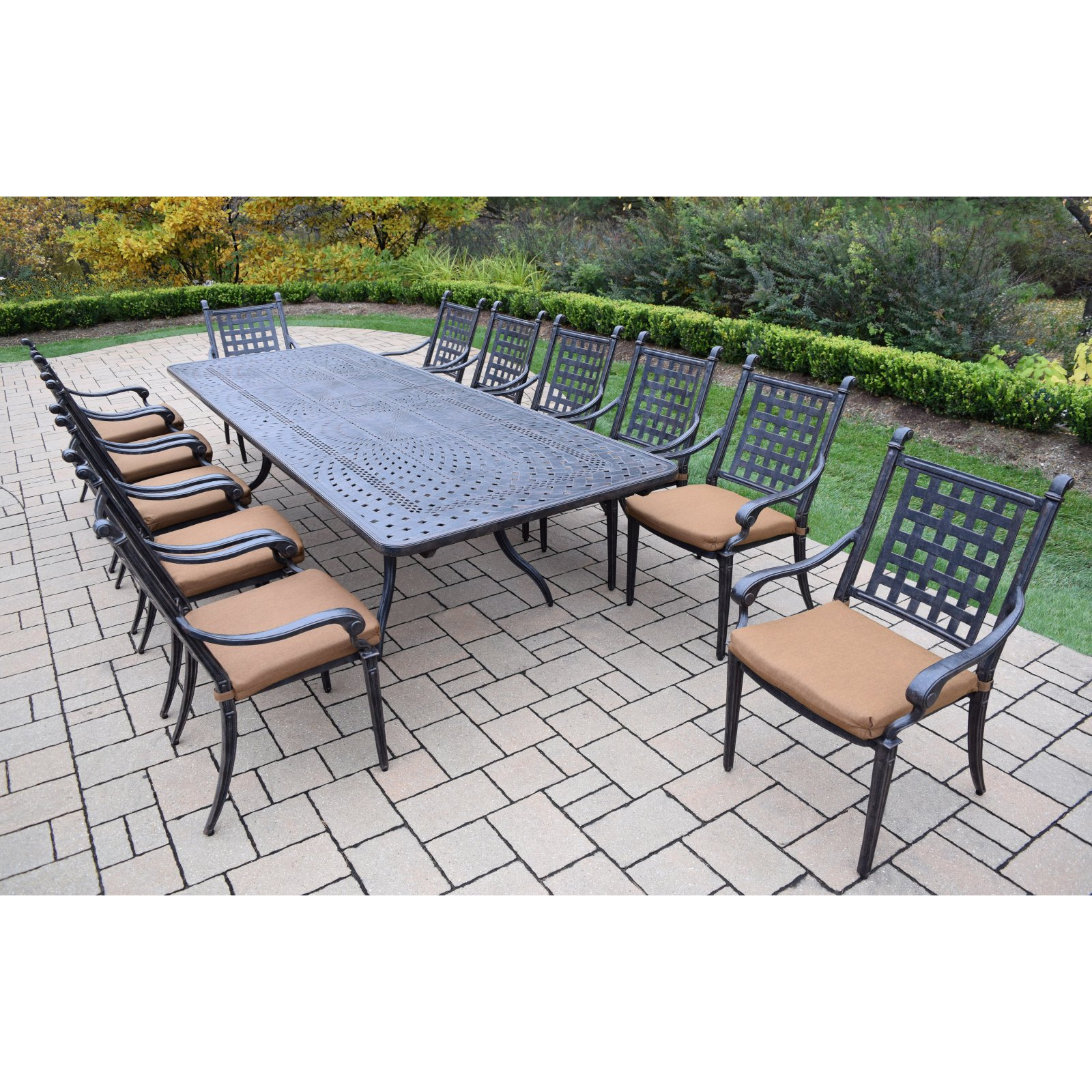 Oakland Belmont 13 Piece Extendable Patio Dining Set with...
