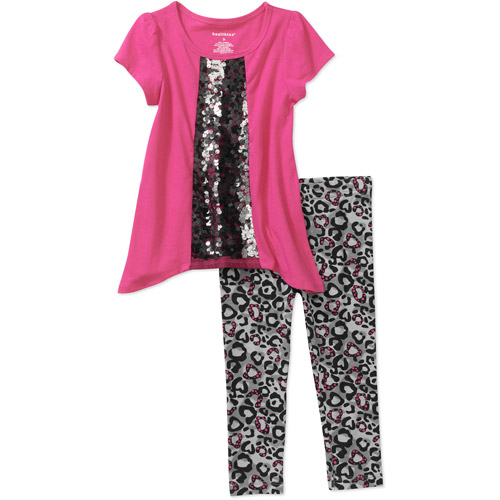 Healthtex Baby Girls' 2 Piece Sequin Sharkbite Hem Tunic and Legging Set