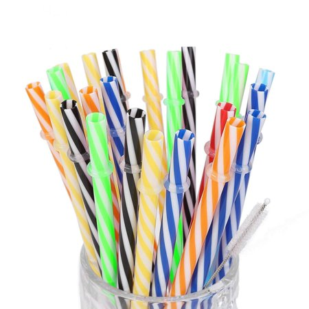 25pack 9Inch Long Reusable Plastic Straws. BPA-Free, Replacement Drinking Straws Fit for Mason Jar, Yeti Tumbler with Cleaning Brush.