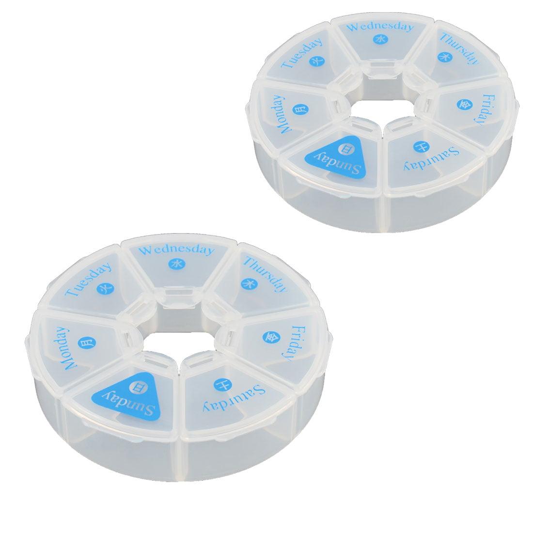 Outdoor Travel Plastic Round Design 7 Compartments  Box Organizer 2 PCS