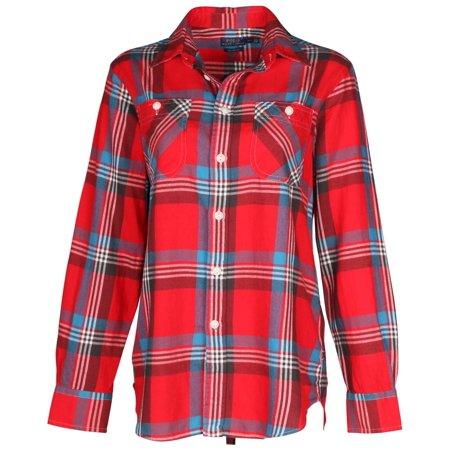 f14b43bed Polo Ralph Lauren - Polo Ralph Lauren Women s Plaid Flannel Shirt-Red Blue  - Walmart.com