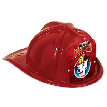 Club Pack of 48 Red Junior Firefighter Hat with Dalmatian Shield Costume Accessories