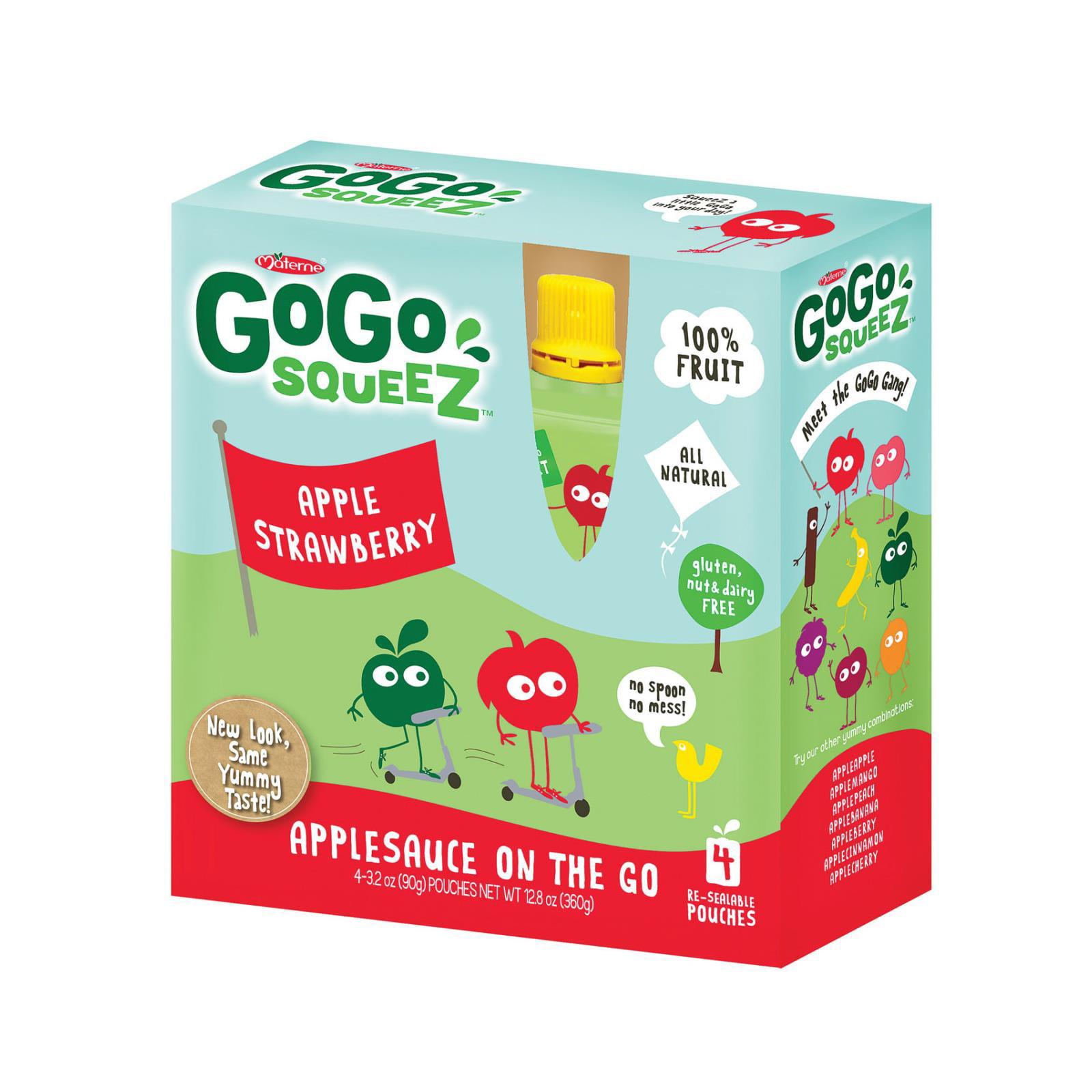 GoGo Squeeze Organic Applesauce - Apple Strawberry - Case of 12 - 3.2 oz.