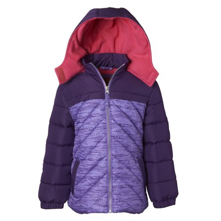 Pink Platinum Colorblock Hooded Active Puffer Jacket (Little Girls & Big - Girls Pink Lady Jacket