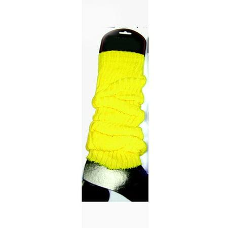 Neon Yellow Leg Warmers (Pair) Rave Club 80's 1980's Dancer Lauper Madonna (80s Leg Warmers)