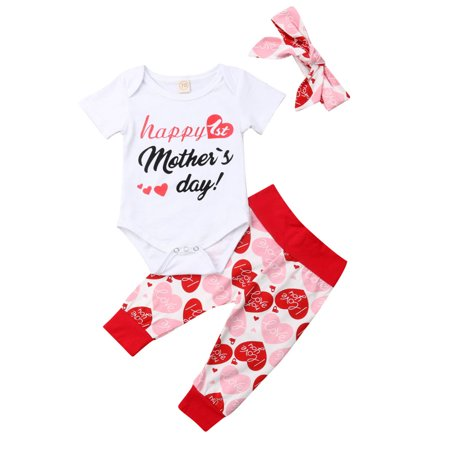 Newborn Infant Baby Girls Happy 1st Mother's Day Outfits Rompe with Love Pant And