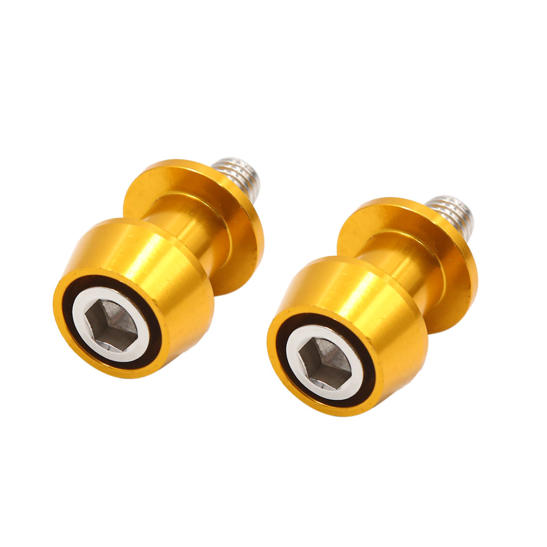 2pcs 10mm Thread Dia Metal Motorcycle Swingarm Stand Sliders Spools Gold Tone
