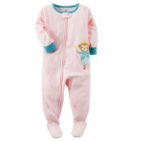 Carter's Baby Girls' 1-Piece Monkey Fleece Pajamas, 6 Months - Monkey Onesie