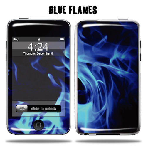 Mightyskins Protective Vinyl Skin Decal Cover for Apple iPod Touch 2G 3G 2nd 3rd Generation 8GB 16GB 32GB mp3 player wrap sticker skins  - Blue Flames