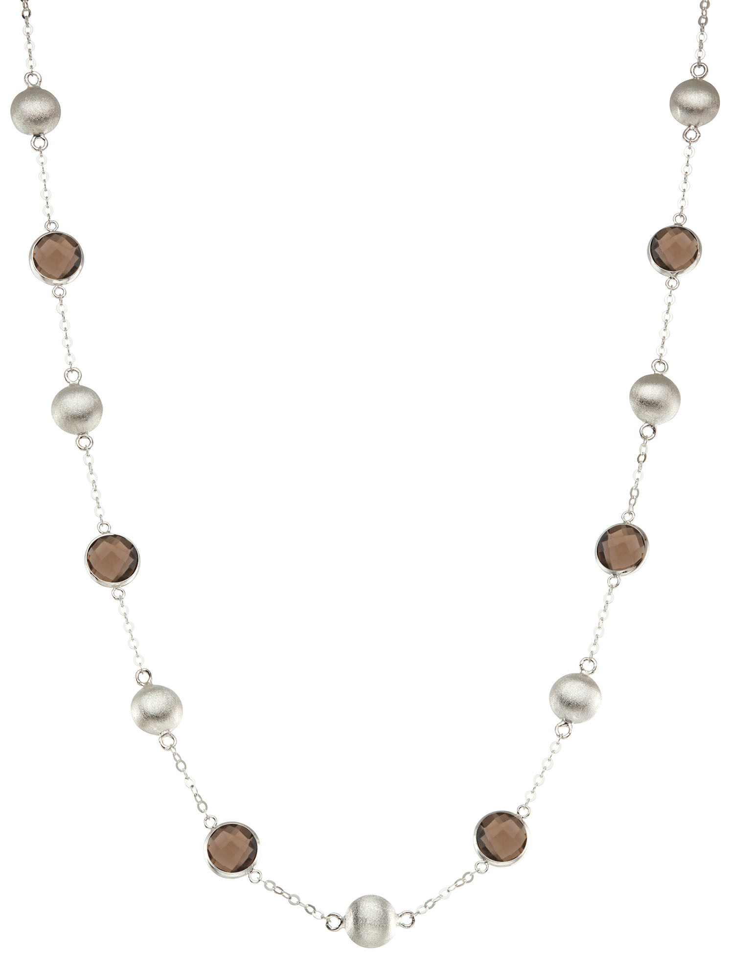 Silver Bead And Bezel Short Necklace With Stations and Round Gemstones by Collection Bijoux