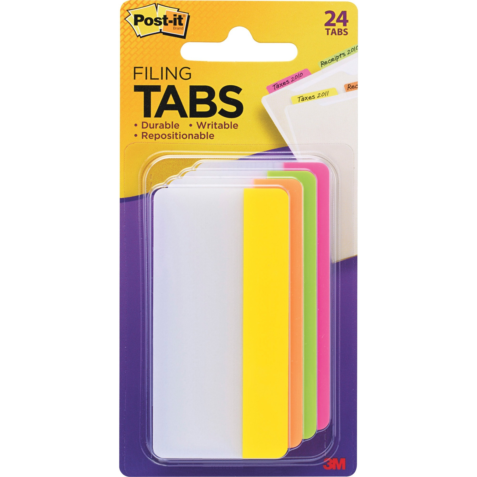 """Post-it Filing Tabs, 3"""" x 1.5"""", Assorted Bright Colors, 6 Tabs/Dispenser, 4 Dispensers/Pack"""