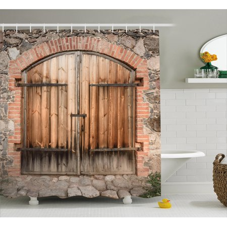 Rustic Shower Curtain, Wooden Door of a Stone House with Wrought Iron Elements Tuscany Architecture Photo, Fabric Bathroom Set with Hooks, Brown Grey, by Ambesonne ()