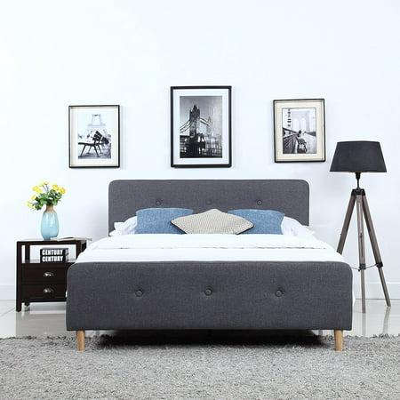 buy popular 7d0d3 3e422 Mid Century Modern Linen Fabric Low Profile Bed Frame (Queen, Dark Grey)