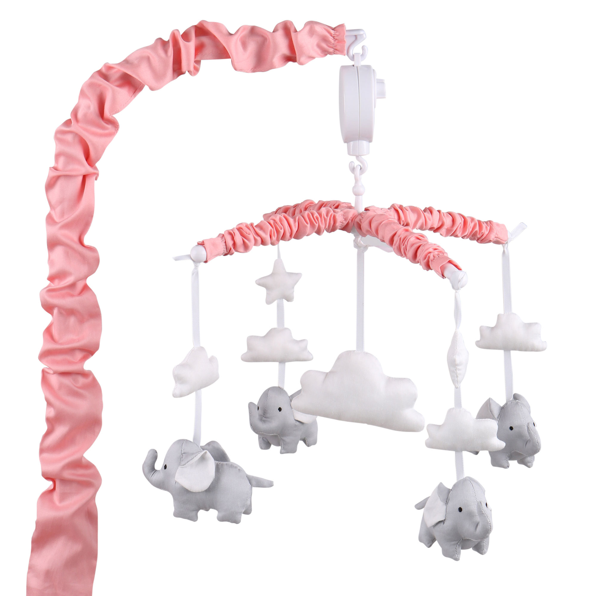 Coral Pink Digital Musical Crib Mobile With Elephants, Clouds & Stars by The Peanut Shell - Baby Girl Nursery Decor