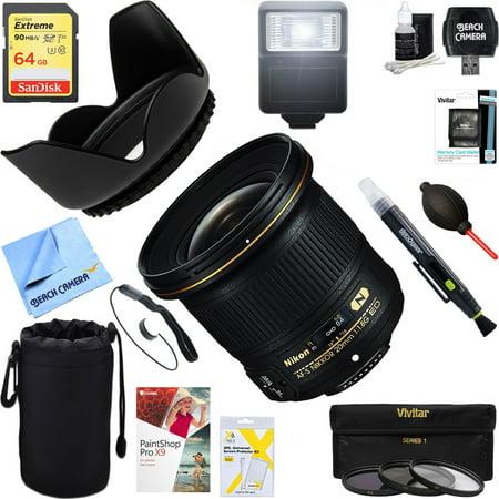 Nikon (20051) AF-S NIKKOR 20mm F/1.8G ED Lens + 64GB Ultimate Filter & Flash Photography