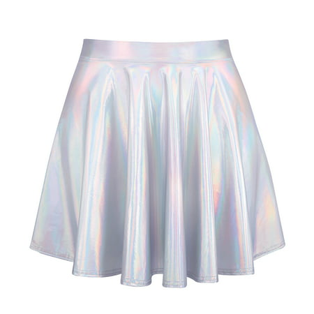 HDE Women's Shiny Liquid Metallic Holographic Pleated Flared Mini Skater Skirt (Holographic, Small) - Metallic Silver Skirt