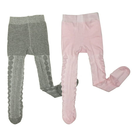 Wrapables Warm Cable Knit Tights for Toddler Girls (Set of 2), Gray and Pink - Star Wars Tights