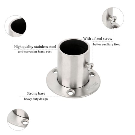 304 Stainless Steel Clothes Closet Rod Bracket Flange Support 1.02 Inch Dia - image 3 of 6