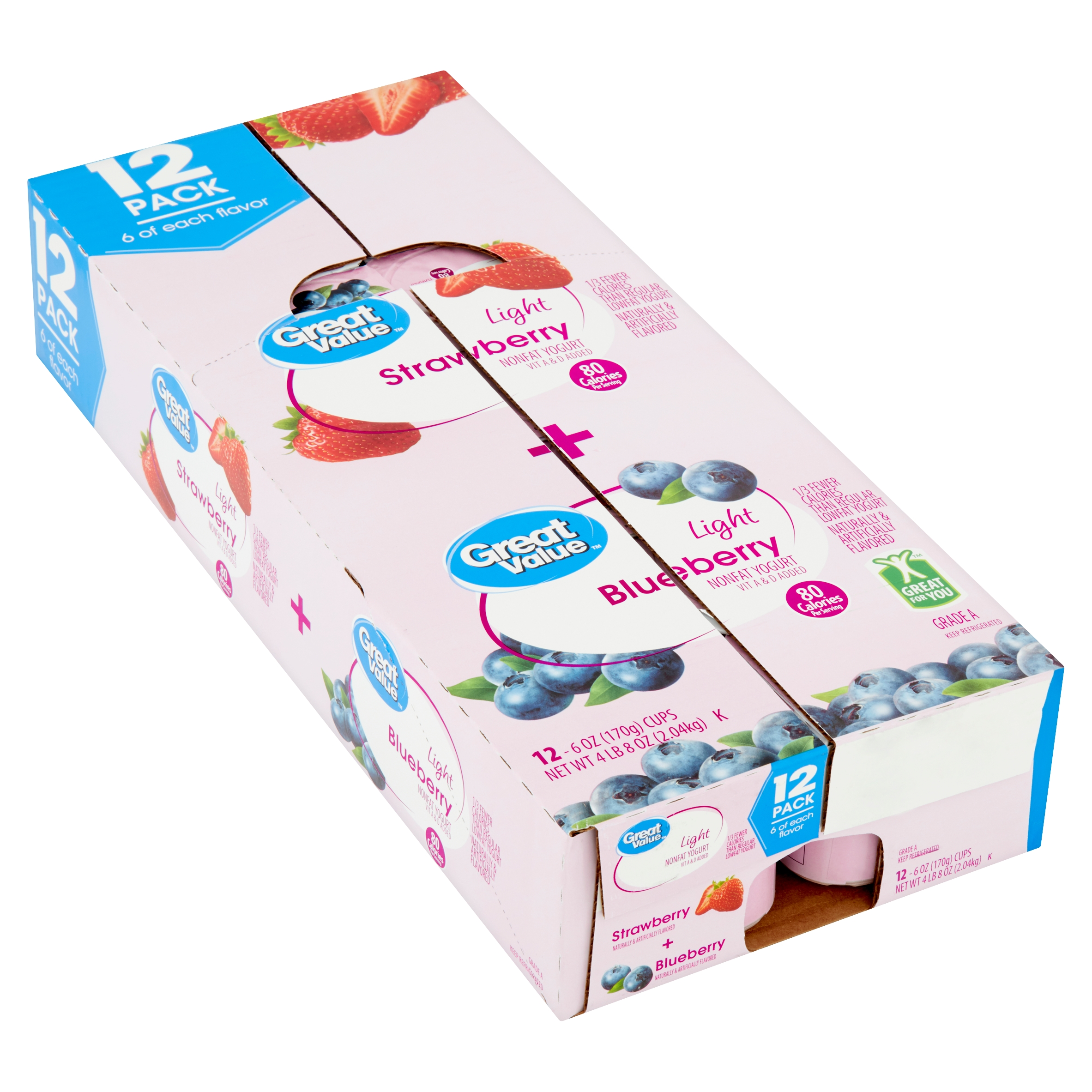 Great Value Light Strawberry + Blueberry Nonfat Yogurt, 6 oz, 12 count