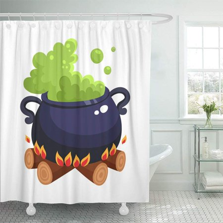 KSADK Halloween Caldron Cauldron with Boiling Green Potion On Wood Fire Cartoon White Shower Curtain 66x72 inch](Halloween Cartoon Cauldron)