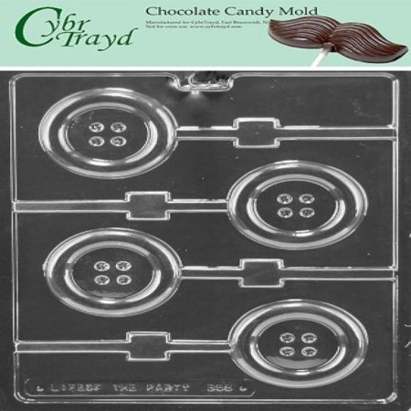 Button Mold (Cybrtrayd Life of the Party B068 Button Lolly Chocolate Candy Mold in Sealed Protective Poly Bag Imprinted with Copyrighted Cybrtrayd Molding)