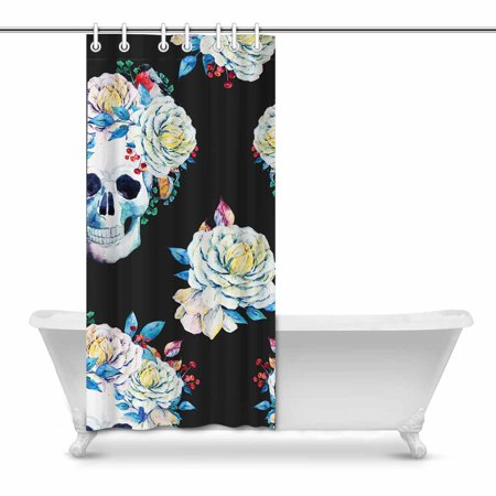POP Skull with Flowers Boho Style Bathroom Decor Shower Curtain Set 36x72 inch - image 1 of 1