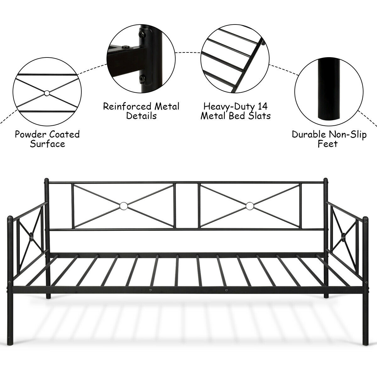 Metal Daybed Frame Twin Size Multifunctional Platform Bed Stable Steel Slats