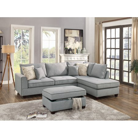 Beautiful Design 3-piece Sectional Set Light Grey Color Dorris Fabric  Crafted large Plush Pillows Reversible Chaise Sofa Storage Ottoman
